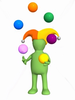 3d clown - puppet, juggling with color balls